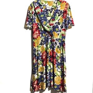 Vintage Multi-coloured Floral Print Dress